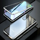 For Samsung S20 Ultra Plus Magnetic Metal Tempered Glass Case W/ Lens Protector