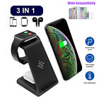 3 in1 Qi Wireless Fast Charger Dock Stand Station For Apple Watch iPhone 12 X XS