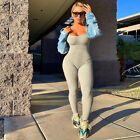 Women Sleeveless Rib Solid Color Casual Sports Shaping Summer Bodycon Jumpsuit