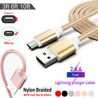 3/6/10ft Braided Micro USB Fast Data Charger Cable For Android Samsung XiaoMi