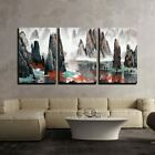 wall26 3 Piece Canvas Wall Art - Chinese Landscape Misty Mountains and Water