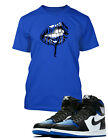 "Blue Lips Tee Shirt To match Air Jordan 1 ""Royal Toe"" Shoe Mens Graphic ProClub"