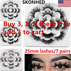 SKONHED 7 Pairs 6D Mink Hair False Eyelashes 25mm Lashes Thick Wispy Fluffy US/