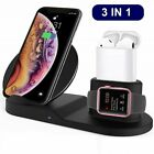 3in1 Qi Wireless Charger Fast Dock Stand Station For Apple Watch Samsung S20 S9
