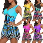 New Women's Fashion Plus Size Butterfly Print Tunic Tankini Swimwear Swimdresses