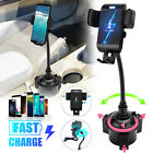 360° Car Cup Holder Qi Wireless Charger Stand Mount for iPhone 12 Cell Phone 10W