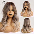 Long Natural Wave Synthetic Ombre Brown Mixed Blonde Wigs for White/Black Women