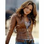 Womens Biker Motorcycle Vintage Light Waxed Brown Real Leather Jacket