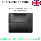 Mens Gents Genuine Leather Wallet Bifold Cash Coin Zipper Credit Card ID Holder