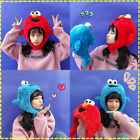 High Quality Sesame Street Elmo Cookie Monster hat cap Soft Plush Toy Dolls stuf