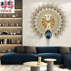 US 23.62'' Large Wall Clock Luxury Peacock Diamond Metal Decor Home Living Room