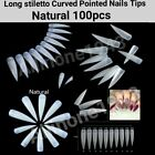 100/500Pc Extra Long Stiletto Curved Pointed French Artificial False Nail Tips