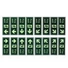 2x Fire Emergency Arrow Glowing in the Dark Exit Sign Sticker Decal Safety Exit