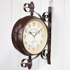 Double Sided Metal Antique Style Wall Clock Hanging Wall Clock Garden Decor