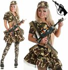 Adult Sexy Ladies Army Outfit Set Fancy Dress Soldier Military Uniform Women's