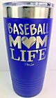 Piper Lou Insulated Stainless Steel Drinking Cup with Lid 20oz Baseball Mom Life