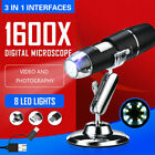 3in1 USB Digital Microscope 8 LED for Electronic Accessories Coin Inspection #US