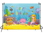 Mermaid Princess Undersea World Backdrop Kids Birthday Dessert Table Background