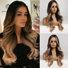 Long Wavy Black Brown Women Wigs with Blonde Highlights Cosplay Wig Middle Part