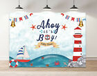 Ahoy It's A Boy Backdrop Gender Reveal Baby Shower Marine Theme Party Background