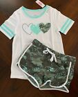 NWT Justice Girls Graphic Football Tee w/ Hearts & Camo Shorts Outfit! 8 or 10!