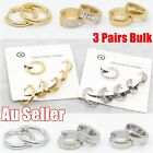 3 Pairs Stainless Steel Crystal Hinged Huggie Sleeper Hoop Ear Lip Nose Earrings