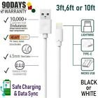10ft 6ft 3ft USB PVC Cables Sync-Charging for iPad,iPhone 8,X,XR,XS,11,& Android
