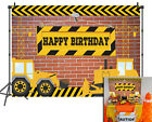 Construction Theme Brick Wall Backdrop Dump Truck Kids Birthday Party Background