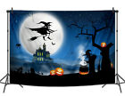 Wicked Witch Jack-o'-lantern Backdrop Horrible Castle Halloween Party Background