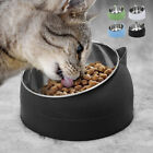 400ml Cat Bowl Raised No Slip Stainless Steel Elevated Stand Tilted Feeder #New
