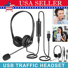 USB Noise Cancelling Microphone Headset for Laptop PC Computer Chat/Call Center