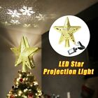 Christmas Tree Topper Star LED Projection Lamp Rotating Xmas Tree Ornament Craft