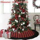 47'' Checked Christmas Tree Skirt Fur Carpet Floor Mat Xmas Tree Ornaments Craft