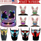 Halloween Scary LED Mask Cosplay Face Cover for Funny Makeup Party