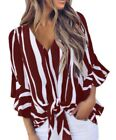 Burgundy Vertical Stripes V-Neck Tie Front Top - Reg and Plus Sizes