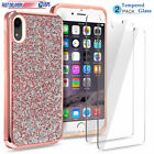 For iPhone XS MAS XR X Case Bling Glitter Diamond Phone Cover + Tempered Glass