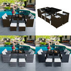 Garden 9 Pieces Rattan Cube Table Set 8 Seaters Patio Furniture Outdoor