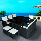11 Pieces Rattan Garden Furniture Set Cube Dining Chairs & Table Stool