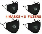 4pc Face Mask Adjustable Strap Washable Reusable Cloth Cotton With Filter Lot