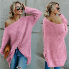 Womens Off Shoulder Fluffy Sweater Long Sleeve Loose Baggy Jumper Pullover Tops