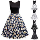 BP Womens Vintage Round Neck Patchwork A-Line Printed Summer Party Beach Dress