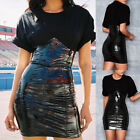 ​Womens PVC Gothic Sexy Bodycon Skirt Dress Steampunk Cocktail Clubwear Black