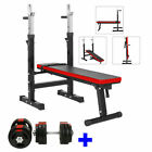 'Adjustable Folding Weight Bench Gym + Dumbbells Dumbbell Bar Weights Plates Set