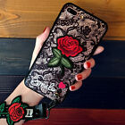 Lace Rose Flower Fashion Women Girl 2 Lanyard Soft Phone Case Cover For Samsung