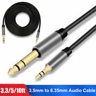 """3.5mm 1/8"""" Male to 6.35mm 1/4"""" Male TRS Stereo Audio Cable Cord for Laptop PC US"""