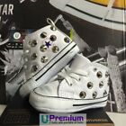 Converse All Star Newborn Leather White Studs Silver Shoes Studded Handmad