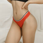 Women Cotton Thongs Panties Low Waist Striped G-String No Trace Briefs Underwear