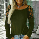 Women Hollow Long Sleeve Tops Blouse Ladies Cold Shoulder Casual Shirt Plus Size