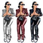 Fashion Women Long Sleeve Buttons Coat Buttom Slit Solid Color PU Outfits 2pcs