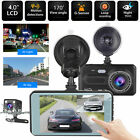 "4"" Touch Car DVR Dual Lens Dash Cam Front Rear Camera Night Vision 170° G-sensor"